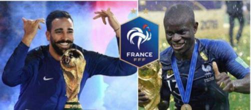 Adil Rami et N'Golo Kanté - Crédit photo captures d'écran Instagram et Logo FFF wikipédia