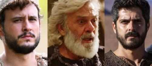 Isaque, Abraão e Ismael em 'Gênesis' (Fotomontagem/Reprodução/Record TV)