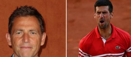 Daniel Riolo au coeur d'un clash sur Twitter après ses propos sur Novak Djokovic. (capture, montage réseaux sociaux Riolo/Djokovic)