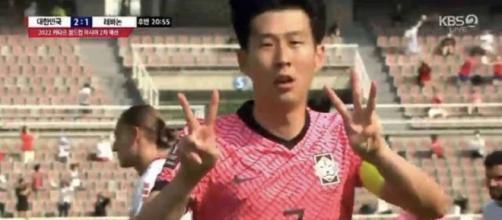 L'attaquant de la Corée du Sud Heung-min Son a dédié son second but à Christian Eriksen - Source : capture KBS)