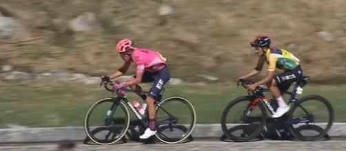 Rigoberto Uran e Richard Carapaz nell'ultima tappa del Giro di Svizzera