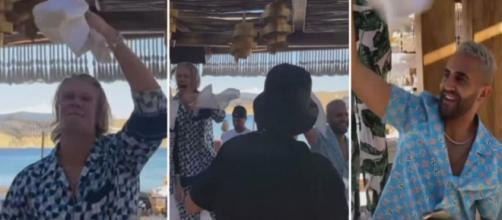 Haaland et Mahrez en feu en Grèce pour leurs vacances. (capture Instagram)