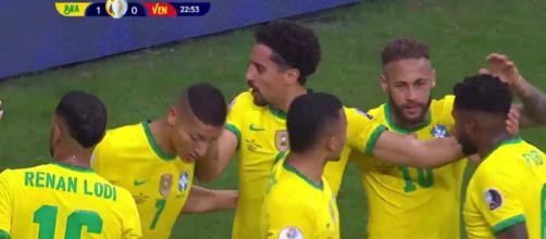 Les joueurs brésiliens du PSG ont brillé pour le premier match de la Copa America contre le Venezuela (Credit : Direct TV - capture)