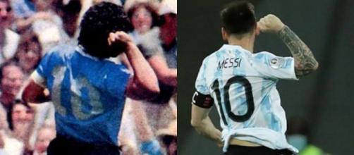 Lionel Messi célèbre son but comme Diego Maradona (Credit : capture Youtube et TyC Sport)