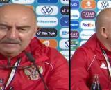 Le coach de la Russie n'a pas hésité à troller CR7 en conférence de presse - Source : capture d'écran Carrusel Deportivo, Twitter