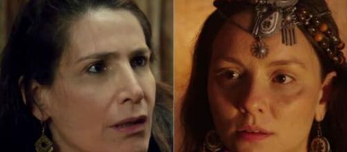 Najla tenta proteger Omar em 'Gênesis' (Fotomontagem/Reprodução/Record TV)