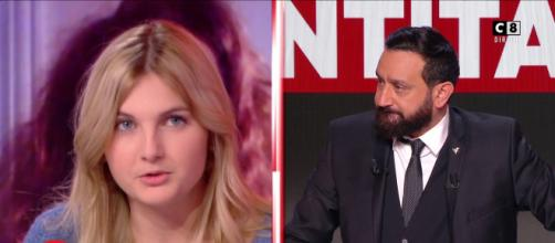 Violent clash entre Thaïs D'Escufon et Cyril Hanouna, le présentateur de TPMP. Source : Capture d'écran C8