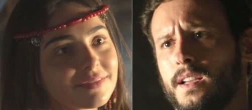 Uriala e Isaque em 'Gênesis' (Fotomontagem/Reprodução/Record TV)