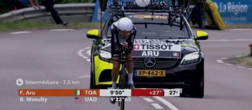 Fabio Aru impegnato nella cronometro del Giro del Delfinato.