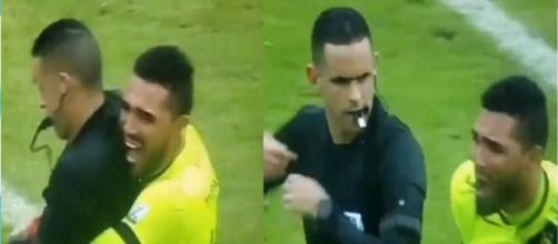 Un gardien de Tolima a soulevé l'arbitre. (capture Twitter)