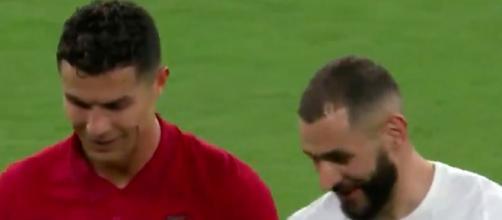 Benzema et Ronaldo plus complices que jamais. (capture Twitter France vs Portugal)