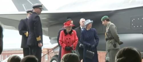 The Queen visits aircraft on board HMS Queen Elizabeth ahead of carrier's first deployment (Image source: The Royal Family Channel/YouTube)