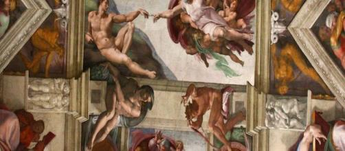 'Creation of Adam', the Sistine Chapel ceiling detail (Image source: Hornplayer)