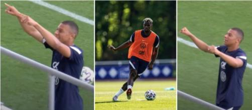 Mbappé toujours motivé pour marquer à l'entrainement. (capture Twitter équipe de France)