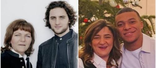 Véronique Rabiot et Fayza Mbappé aux cotés de leurs fils. Source: Twitter Mbappé, Instagram Rabiot