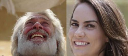 Abraão e Quetura em 'Gênesis' (Fotomontagem/Reprodução/Record TV)