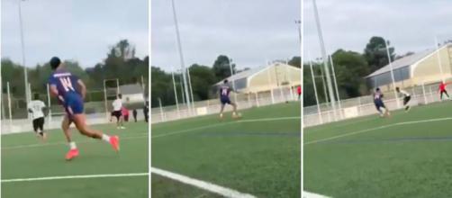 Aubameyang dans un match de football amateur - Source : photos captures d'écran vidéo Twitter