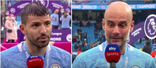 Guardiola et Agüero - Manchester City - Source : Photo capture d'écran vidéo SKy Sports