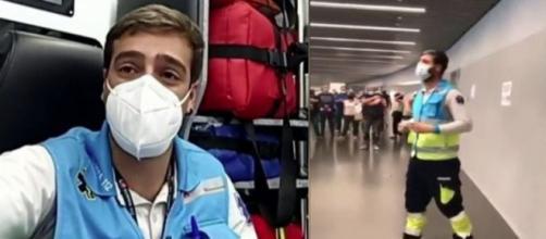 Jorge Prieto trabaja en el Wanda Metropolitano y motiva a la gente que concurre a recibir las vacunas (RRSS)