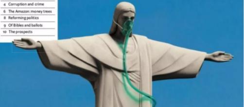 Cristo Redentor com máscara de oxigênio na capa da 'The Economist' (Reprodução)