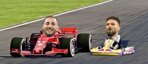 Giroud et Benzema ensemble en équipe de France. (crédit montagne photo Blasting.)