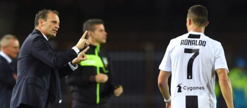 Massimiliano Allegri e Cristiano Ronaldo.