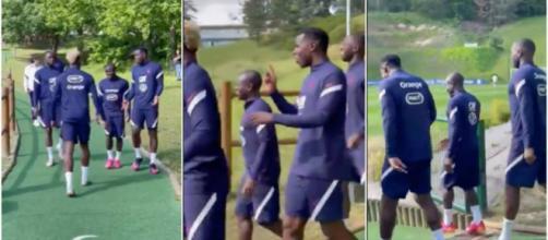 Les Bleus ont charrié Kanté avant leur séance d'entrainement. (photo capture d'écran vidéo Twitter Equipe de France)