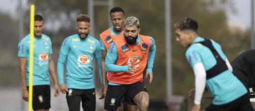 Jogadores da seleção fazem último treino antes de jogo contra o Paraguai (Lucas Figueiredo/CBF)