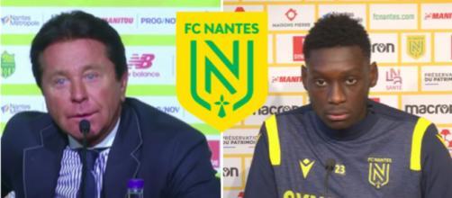 Waldemar Kita détruit son joueur - Photo captures d'écran vidéos Youtube et logo FC Nantes Wikipedia
