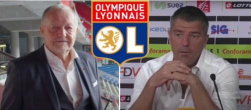Jean Michel Aulas et Grégory Coupet - Source : photos captures d'écran vidéos, logo OL Wikipedia