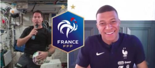 Kylian Mappé et Thomas Pesquet se parlent avant l'Euro capture d'écran vidéo YouTube et Logo wikipedia FFF ok