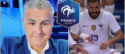 Pierre Ménès ressurgit - Crédit photo capture d'écran vidéo du match, Instagram Ménès et logo FFF