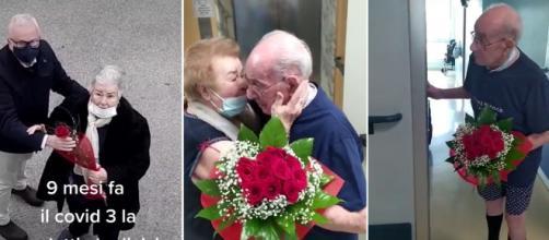 La pareja de ancianos y la secuencia del reencuentro. (TikTok @SalvatoreEgidio)
