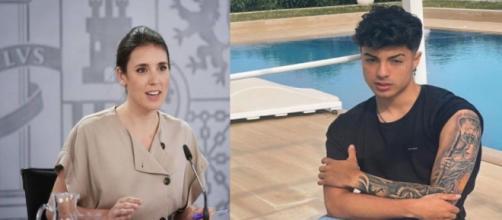 Irene Montero pondrá en conocimiento de la Fiscalía las polémicas palabras del tiktoker Naim Darrechi. (Instagram @i_montero_ y @naimdarrechi)