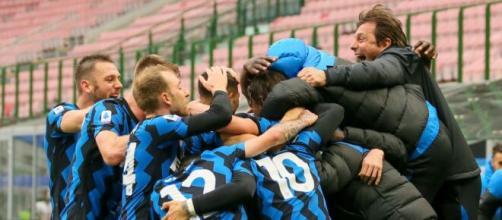 L'esultanza dell'Inter dopo un gol.