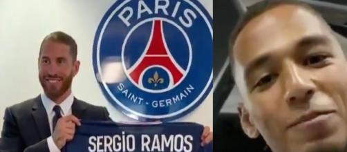 Thilo Kehrer a accepté de donner son numéro à Ramos. (Twitter El Chiringuit, PSG.fr)