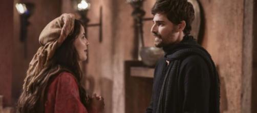 Raquel é pedida em casamento por Jacó em 'Gênesis' (Reprodução/Record TV)