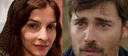 Lia e Jacó em 'Gênesis'. (Fotomontagem/Reprodução/Record TV)