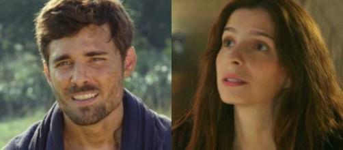 Jacó e Lia em 'Gênesis' (Fotomontagem/Reprodução/Record TV)