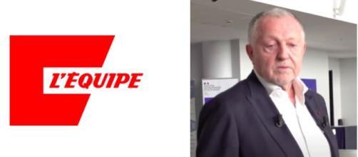 La réponse de Jean-Michel Aulas au journal L'Équipe capture d'écran logo journal plus Aulas vidéo YouTube