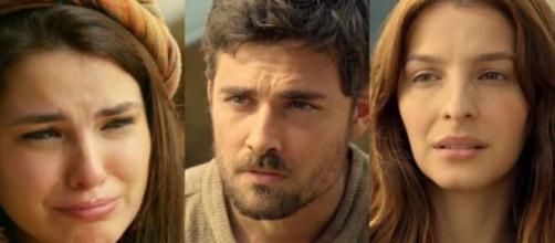 Raquel, Jacó e Lia em 'Gênesis' (Fotomontagem/Reprodução/Record TV)