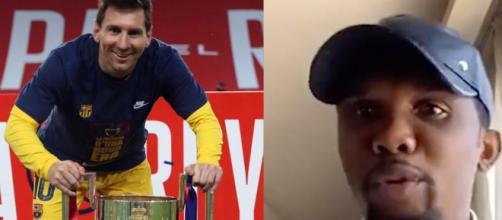Eto'o a sorti les punchlines lors d'une interview sur le Barça. (Instagram Messi et Twitter Italien Football TV)