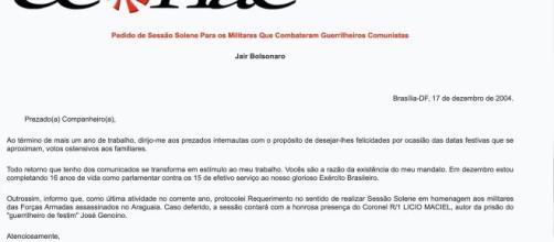 Pesquisadora encontra carta de Bolsonaro publicada em sites neonazistas (Reprodução)