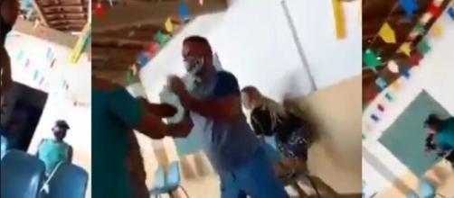 Se viraliza un vídeo de la discusión de un hombre que llevó a su amante a vacunarse. (RR.SS.)
