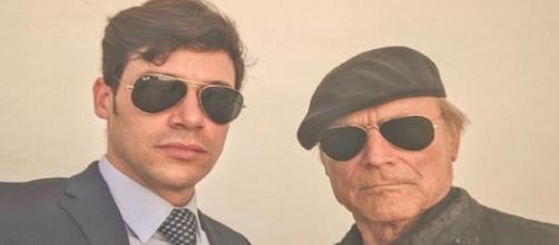 Alessandro Cosentini sul set di Don Matteo con Terence Hill.