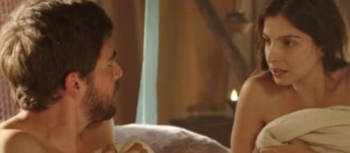 Jacó e Lia vibram em 'Gênesis'. (Reprodução/RecordTV)