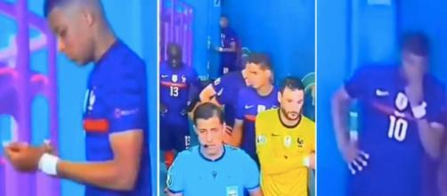 Mbappé apparemment triste avant le coup d'envoi de France vs Suisse - Source : capture d'écran TF1
