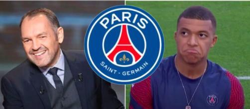 Stéphane Guy se moque du PSG pour Mbappé - Photo capture d'écran vidéo Youtube et logo PSG PNG
