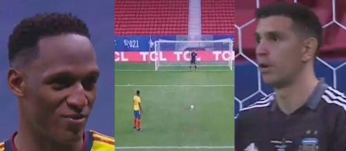Emiliano est rentré dans la tête de Mina. (crédit montage Colombie vs Argentine)