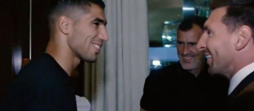Messi et Hakimi nouveaux partenaires au PSG. (crédit Twitter)